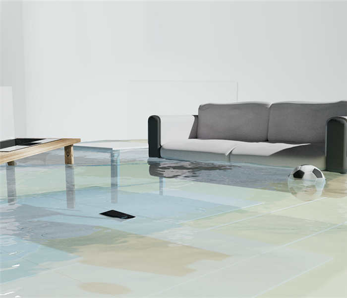 Flooded living room with couch and tv.