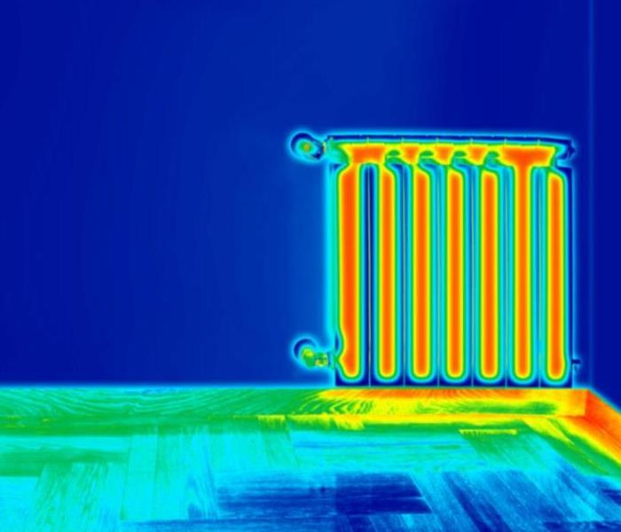 A thermal image of a radiator in a home.
